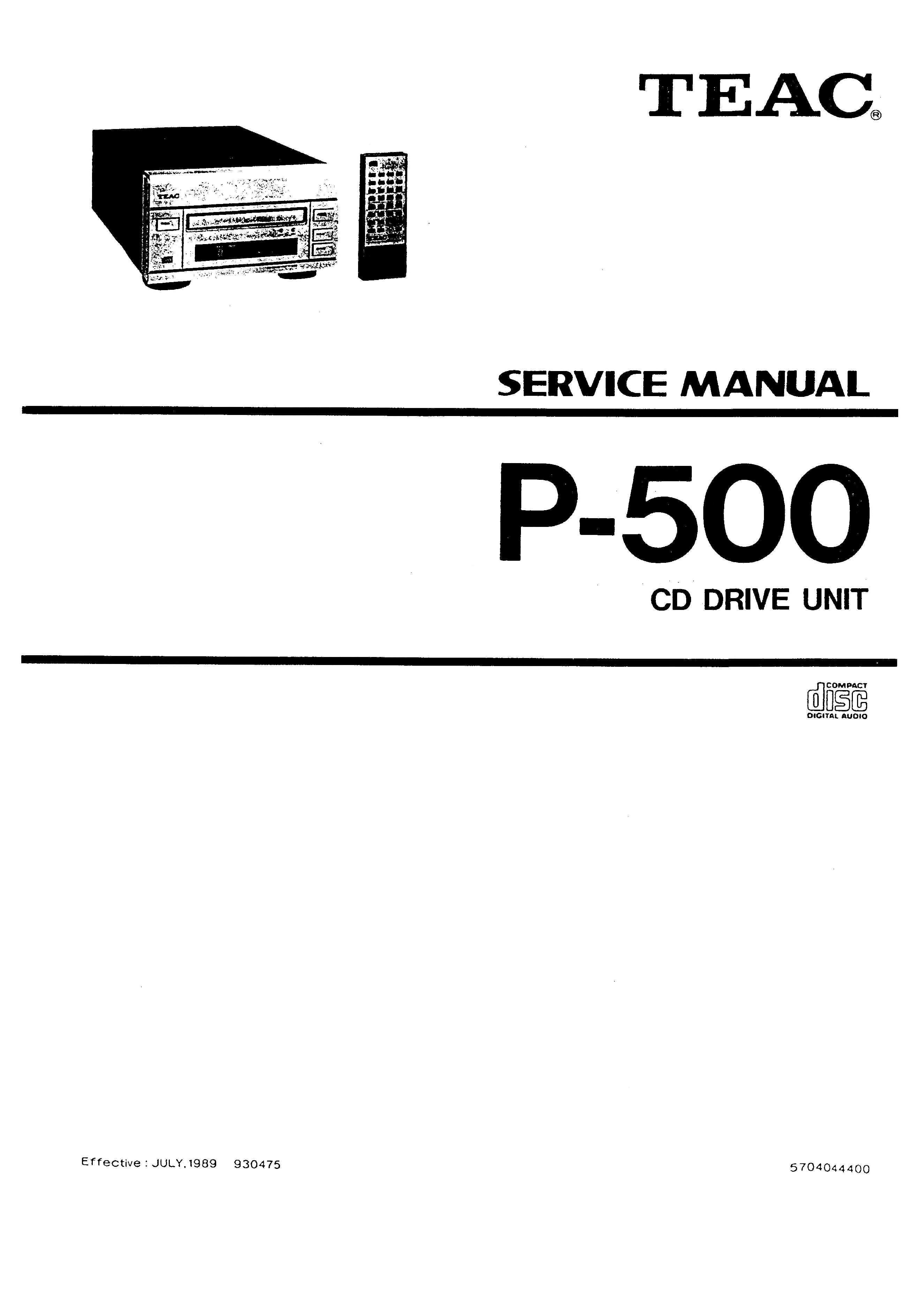 TEAC P-500 - Service Manual Immediate Download