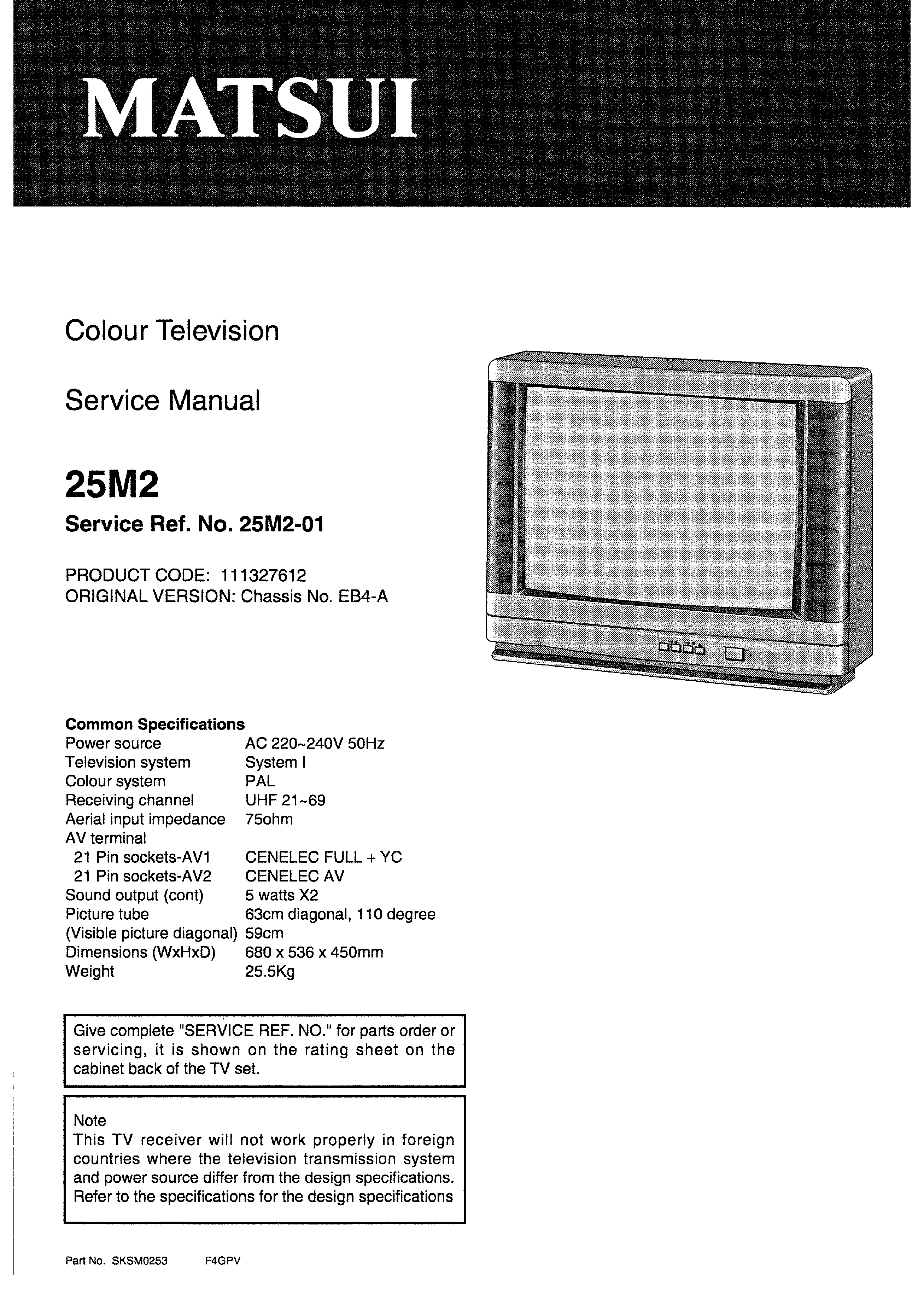 SANYO 25M2 - Service Manual Immediate Download