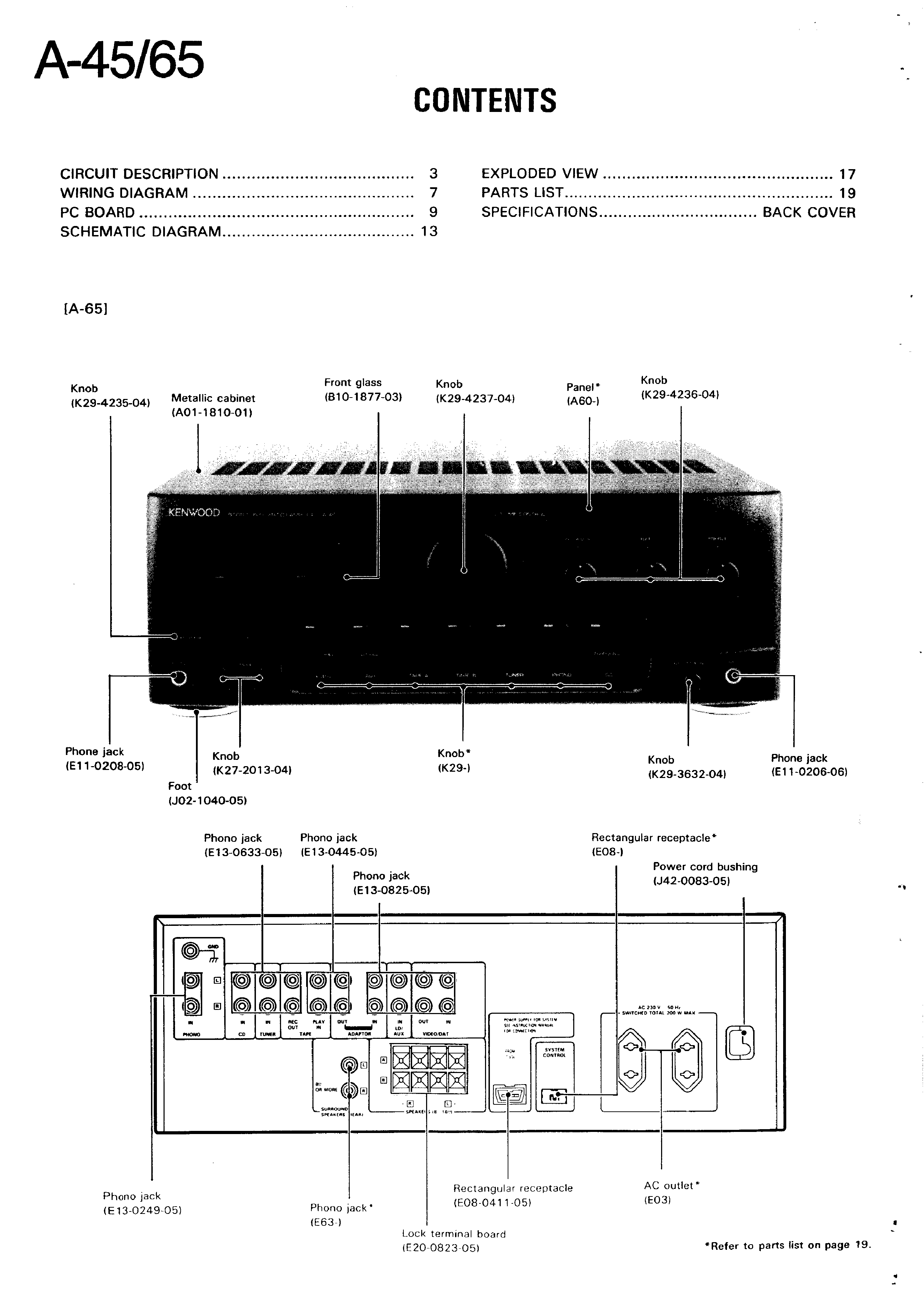 Kenwood A65 Amplifier Circuit Diagram Wiring And Parts List A 45 Service Manual Immediate Download