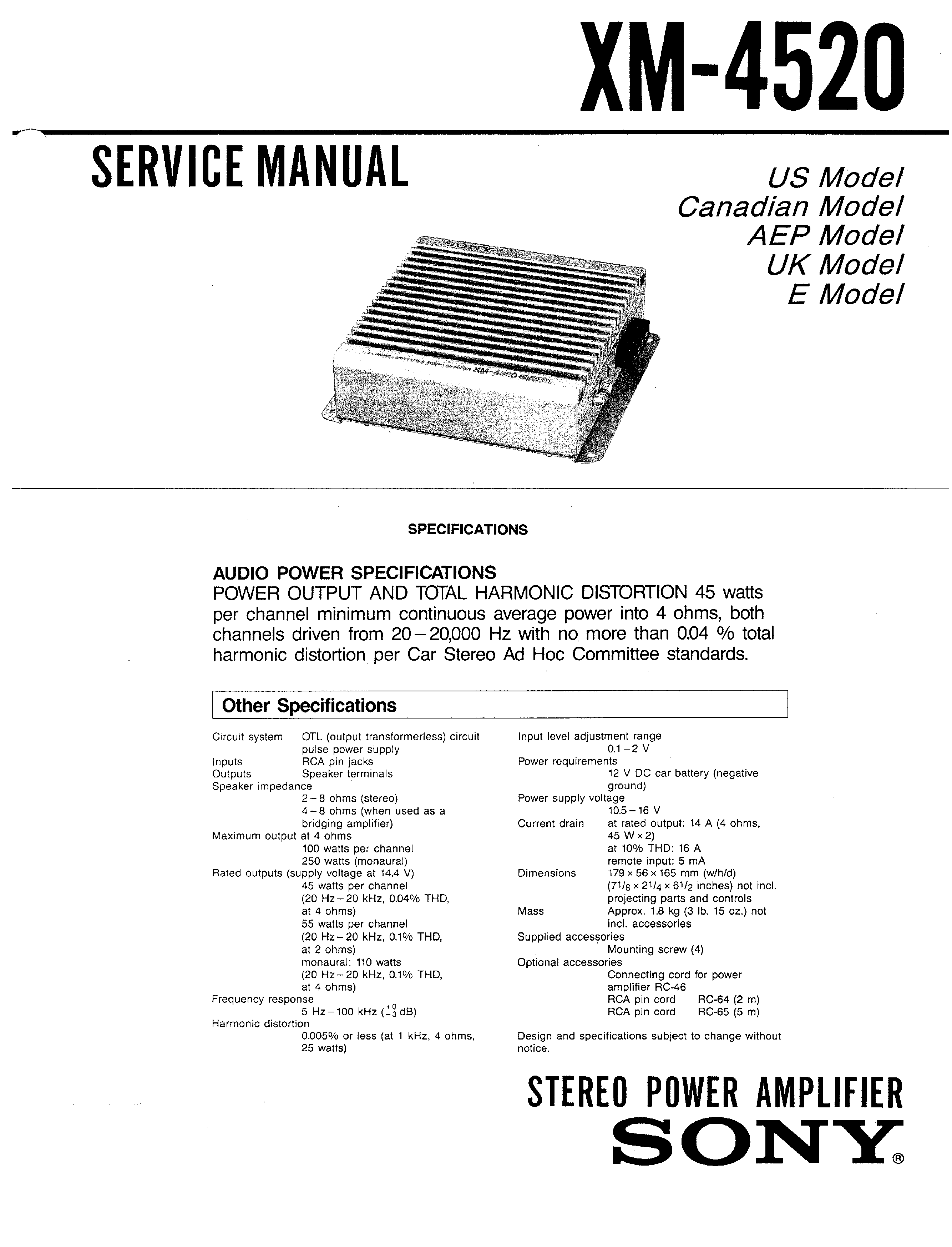 Sony Xm 4520 Service Manual Immediate Download Car Audio Background Image