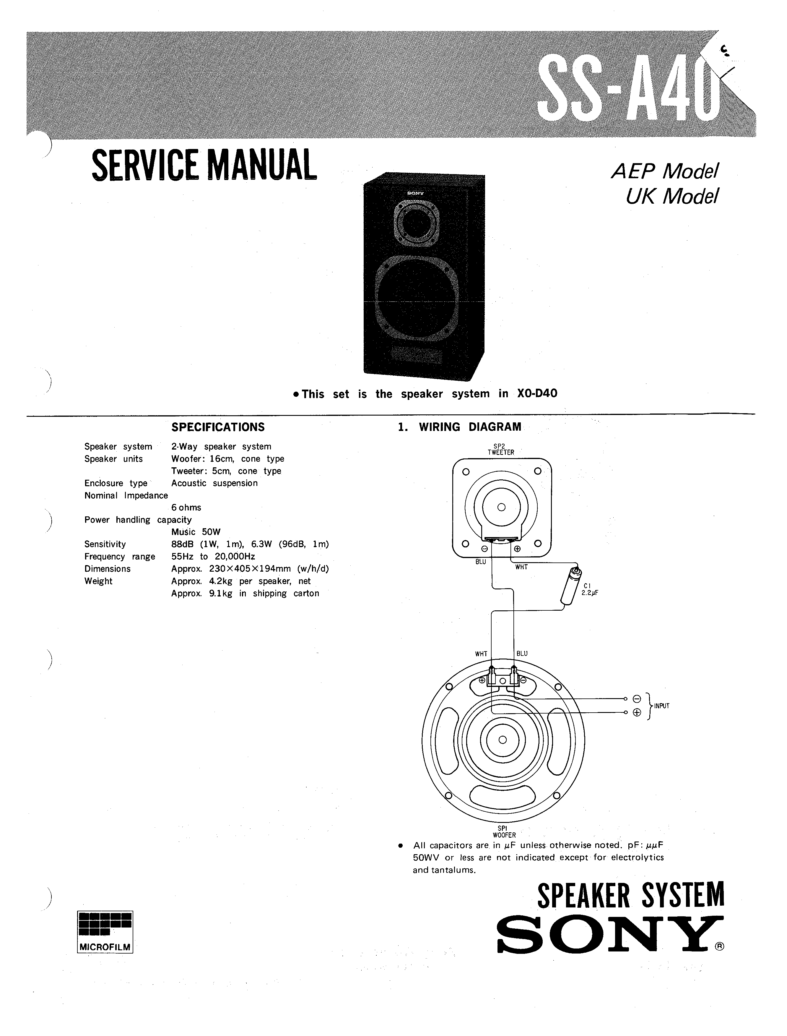 Sony Ssa40 Service Manual Immediate Download 2 Way Speaker Wiring Diagram Background Image