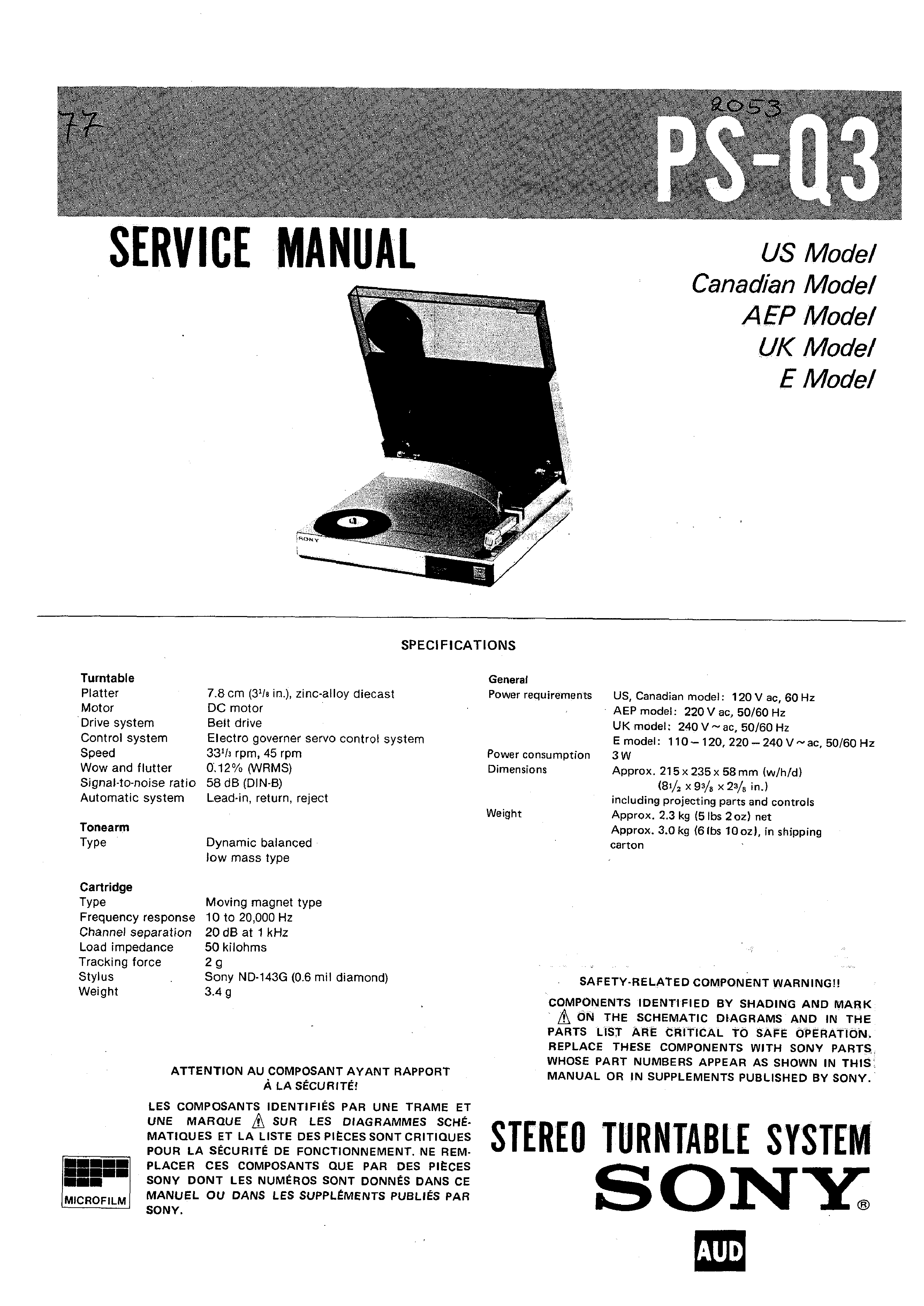 SONY PS-Q3 - Service Manual Immediate Download