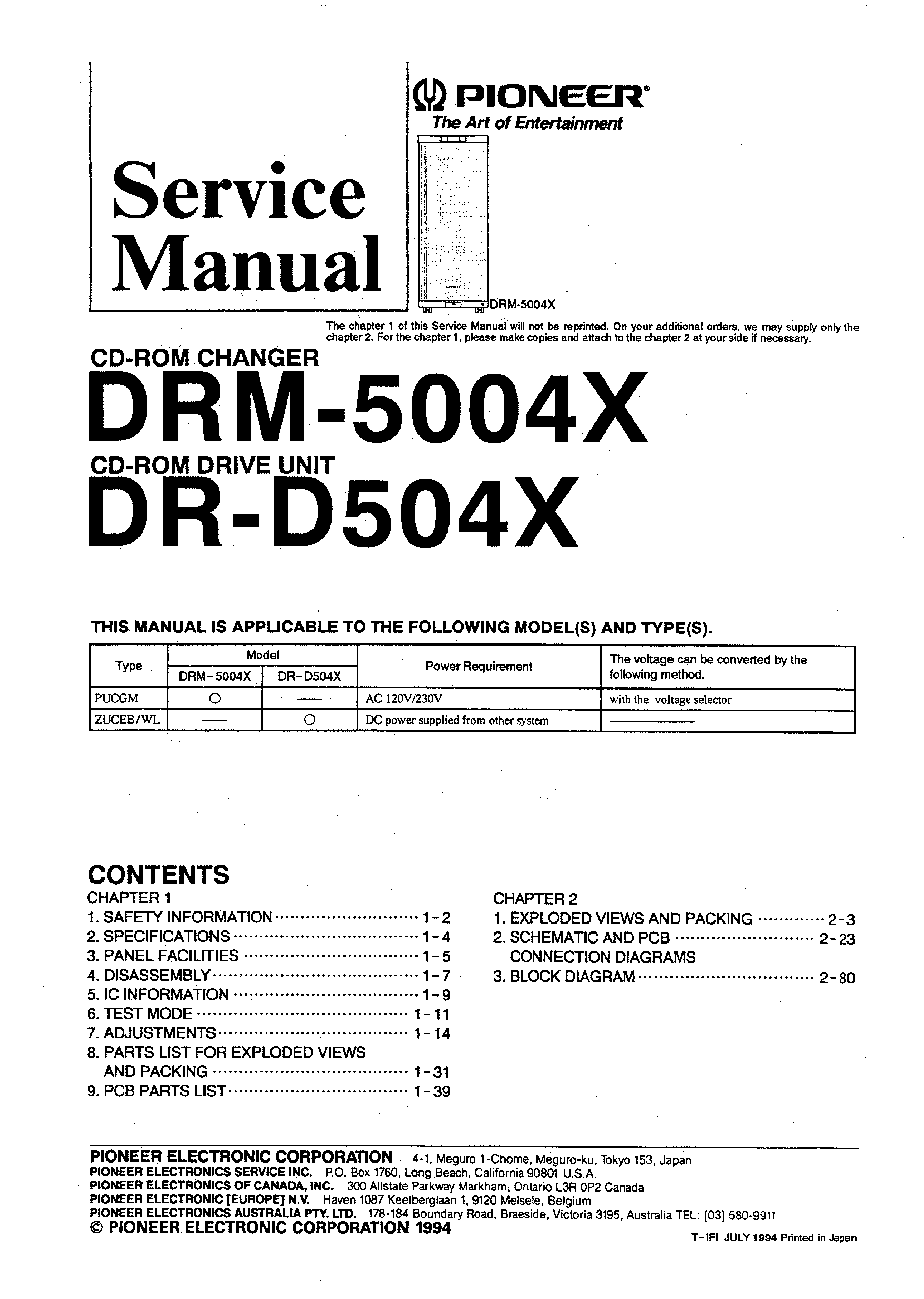 PIONEER DRM-5004X - Service Manual Immediate Download