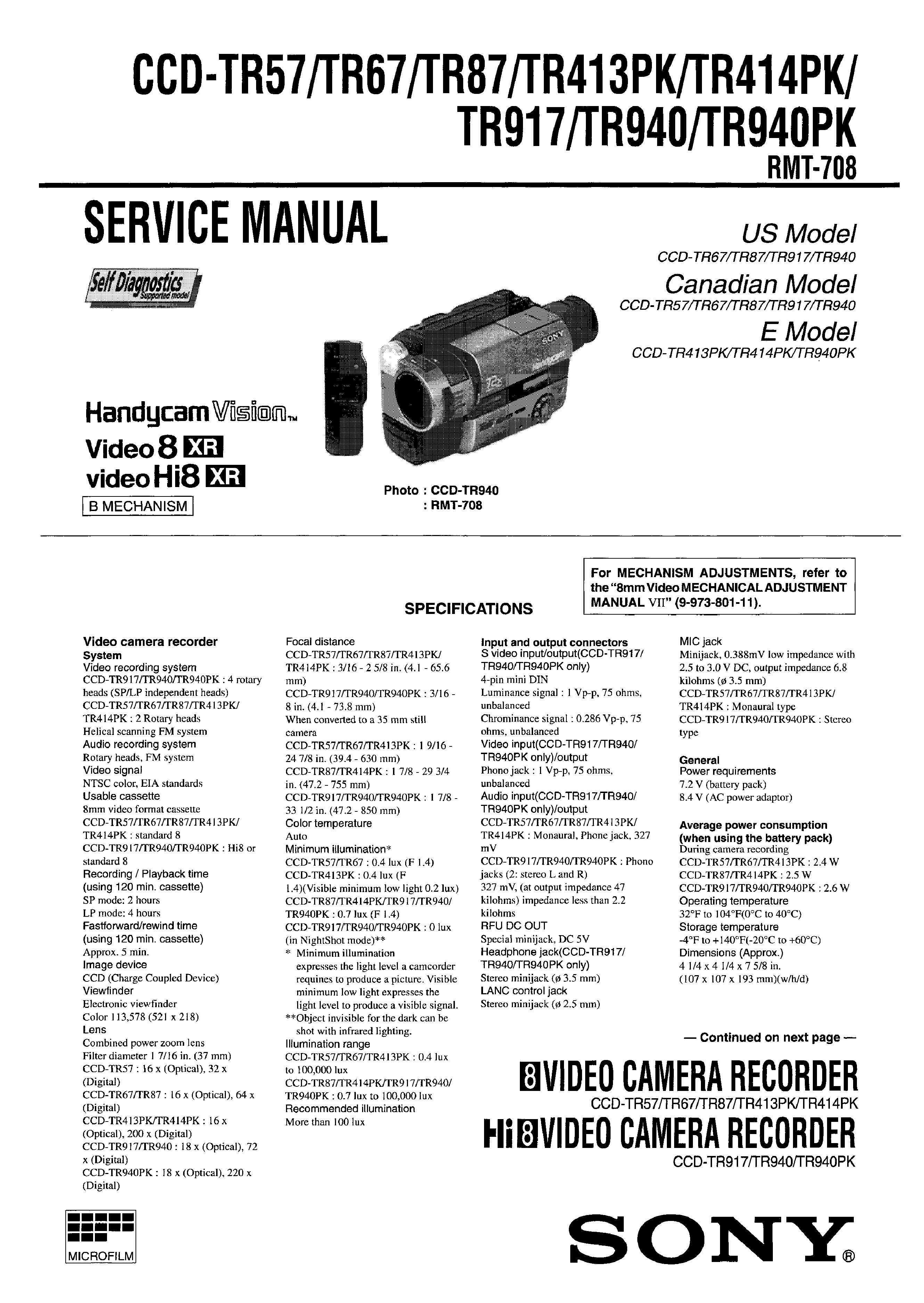 SONY CCDTRV57 - Service Manual Immediate Download