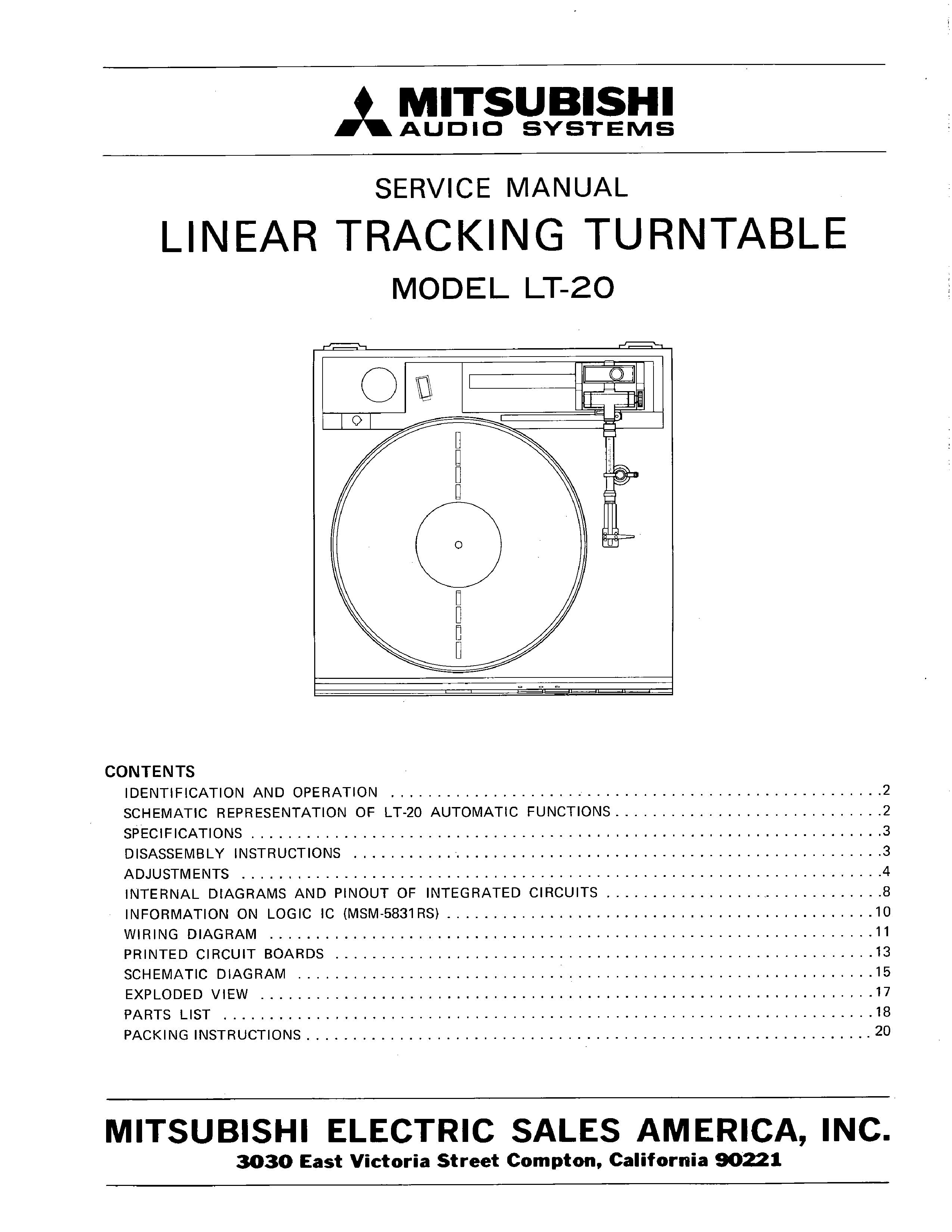 Mitsubishi Lt 20 Service Manual Immediate Download Turntable Wiring Diagram Background Image