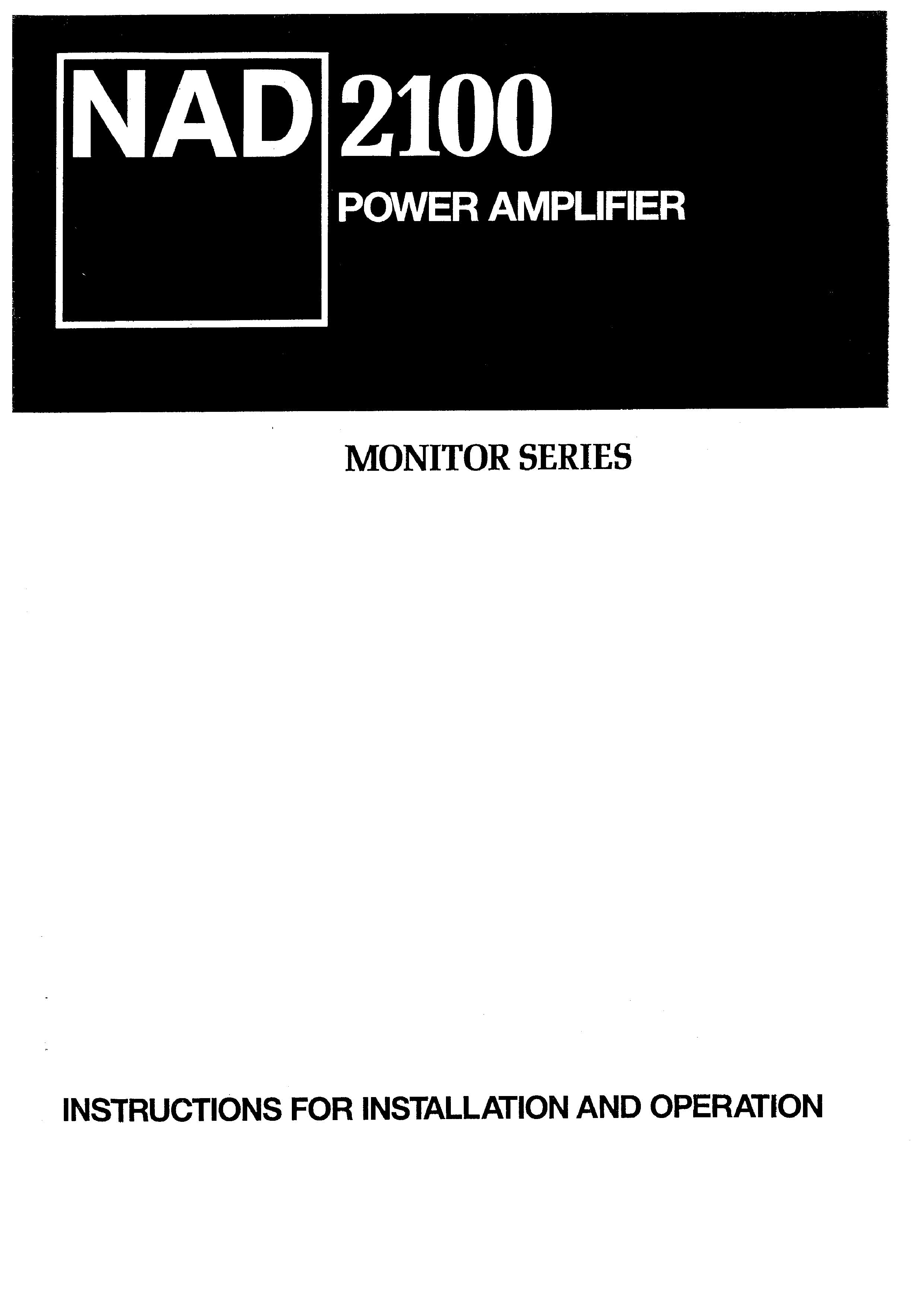 NAD 2100 - Owner's Manual Immediate Download