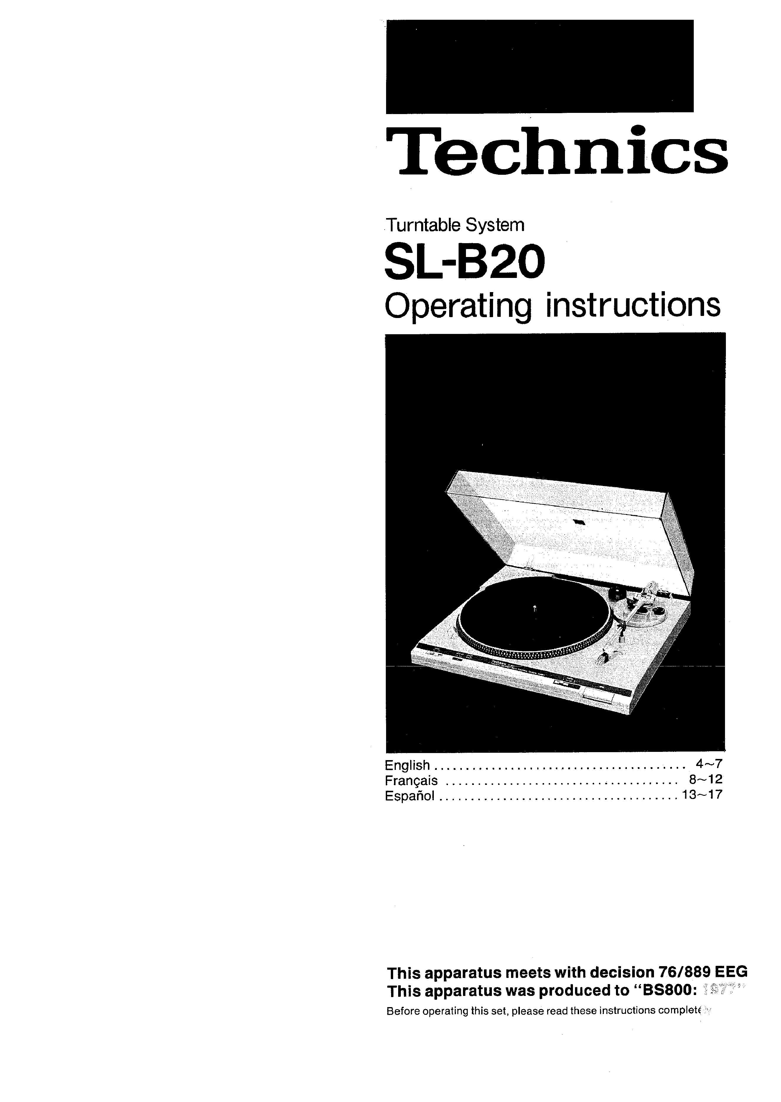 Image not found or type unknown. technics sl b20 owner s manual ...