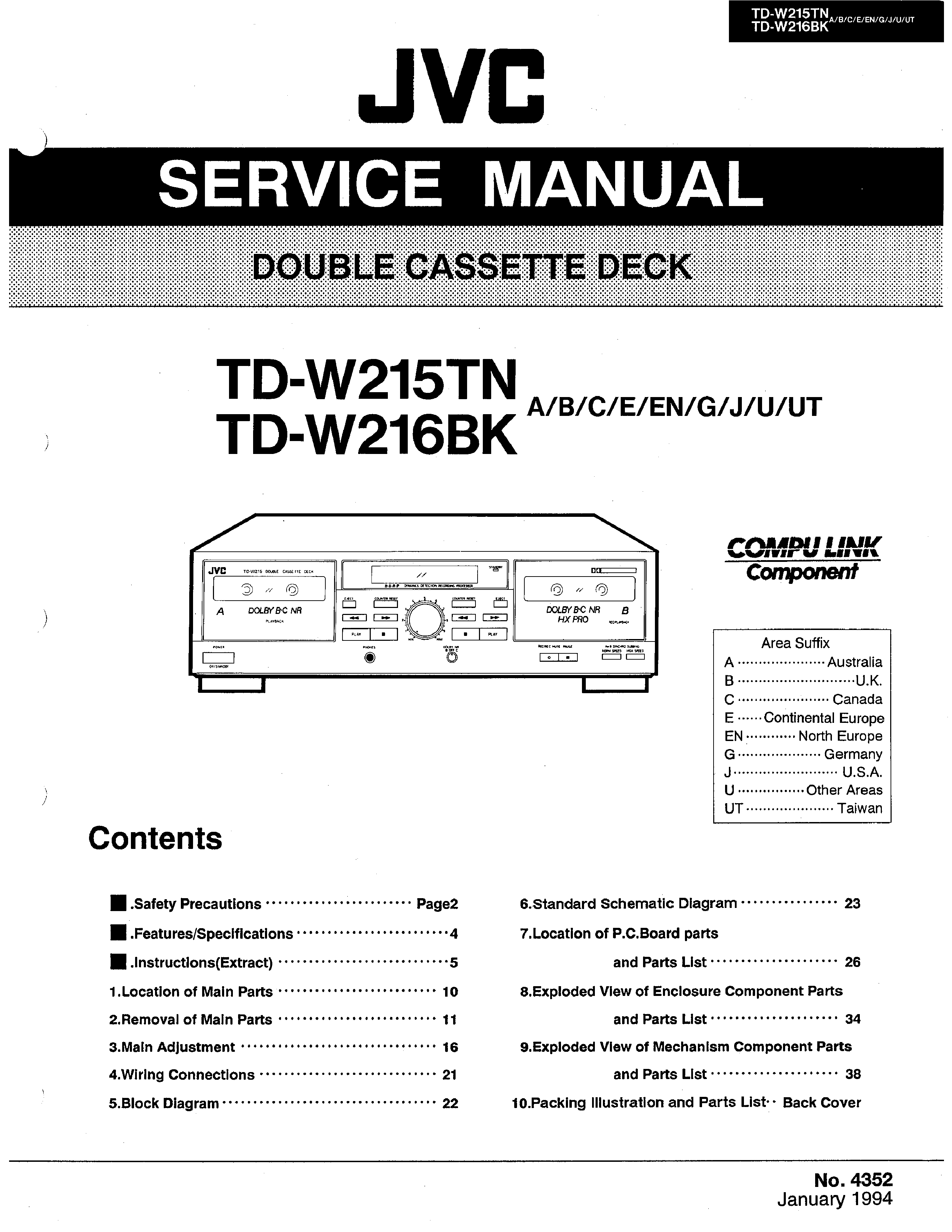 Jvc Tdw216 Service Manual Immediate Download Schematic Diagram Background Image