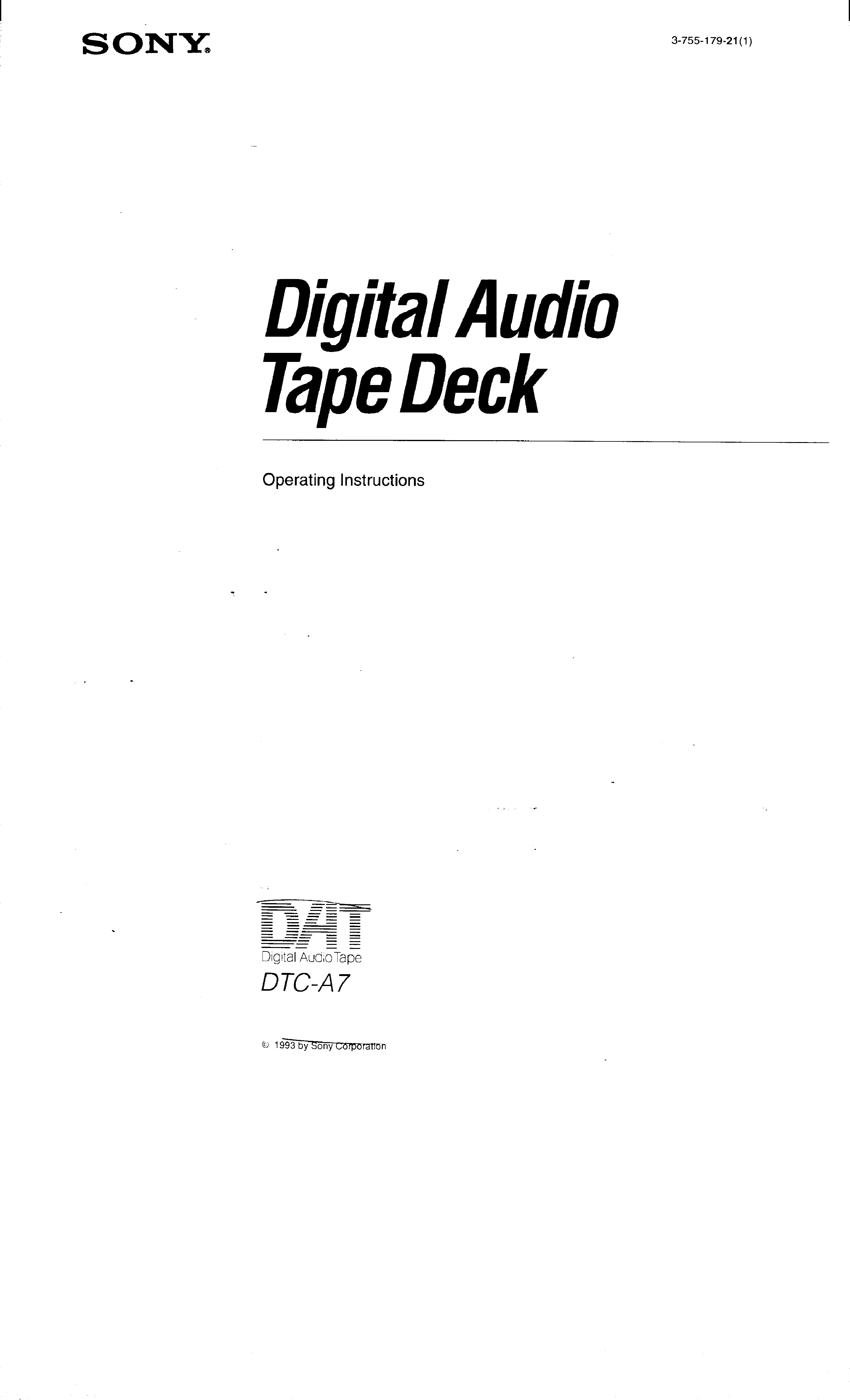 SONY DTC-A7 - Owner's Manual Immediate Download