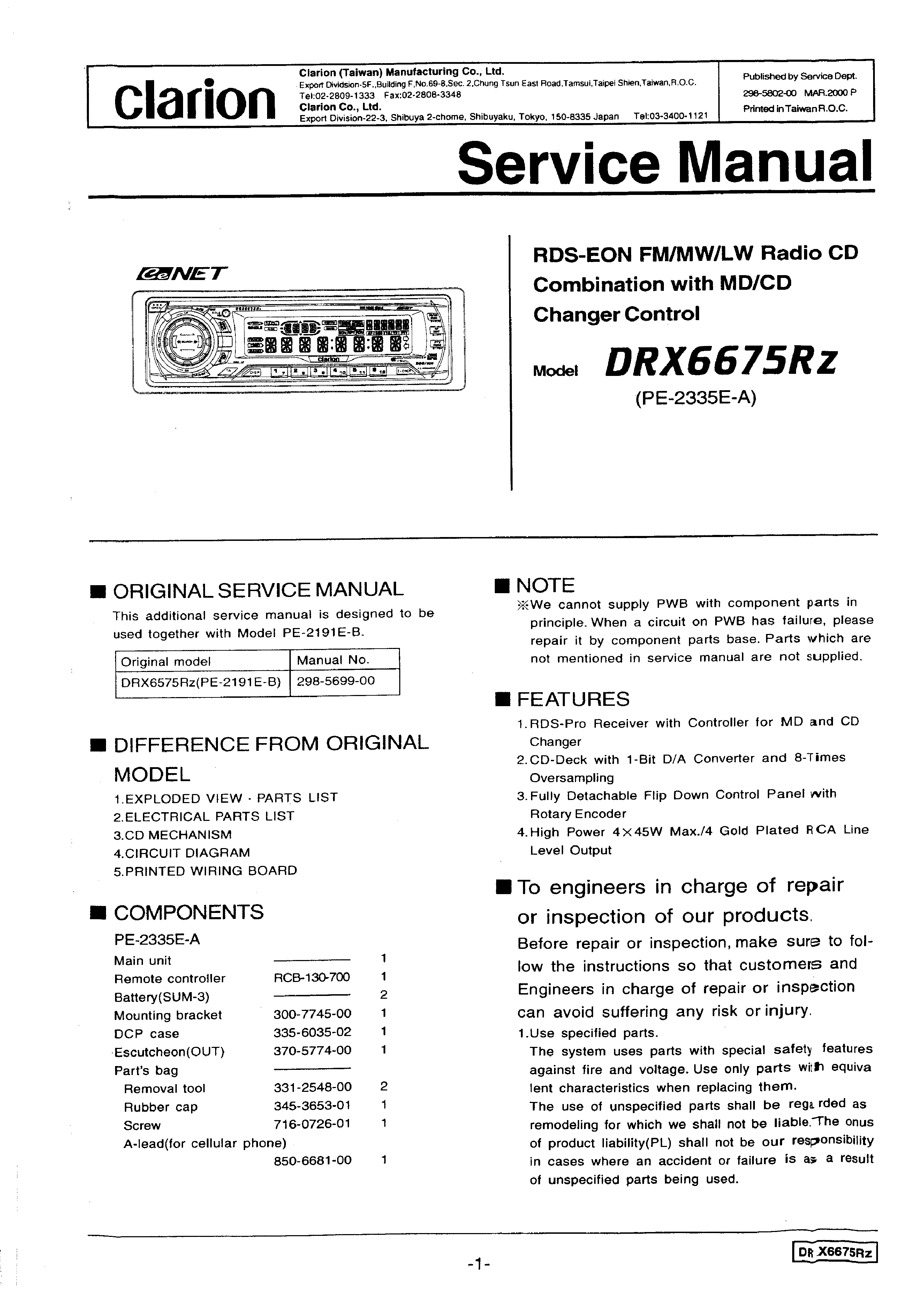 CLARION DRX6675RZ - Service Manual Immediate Download