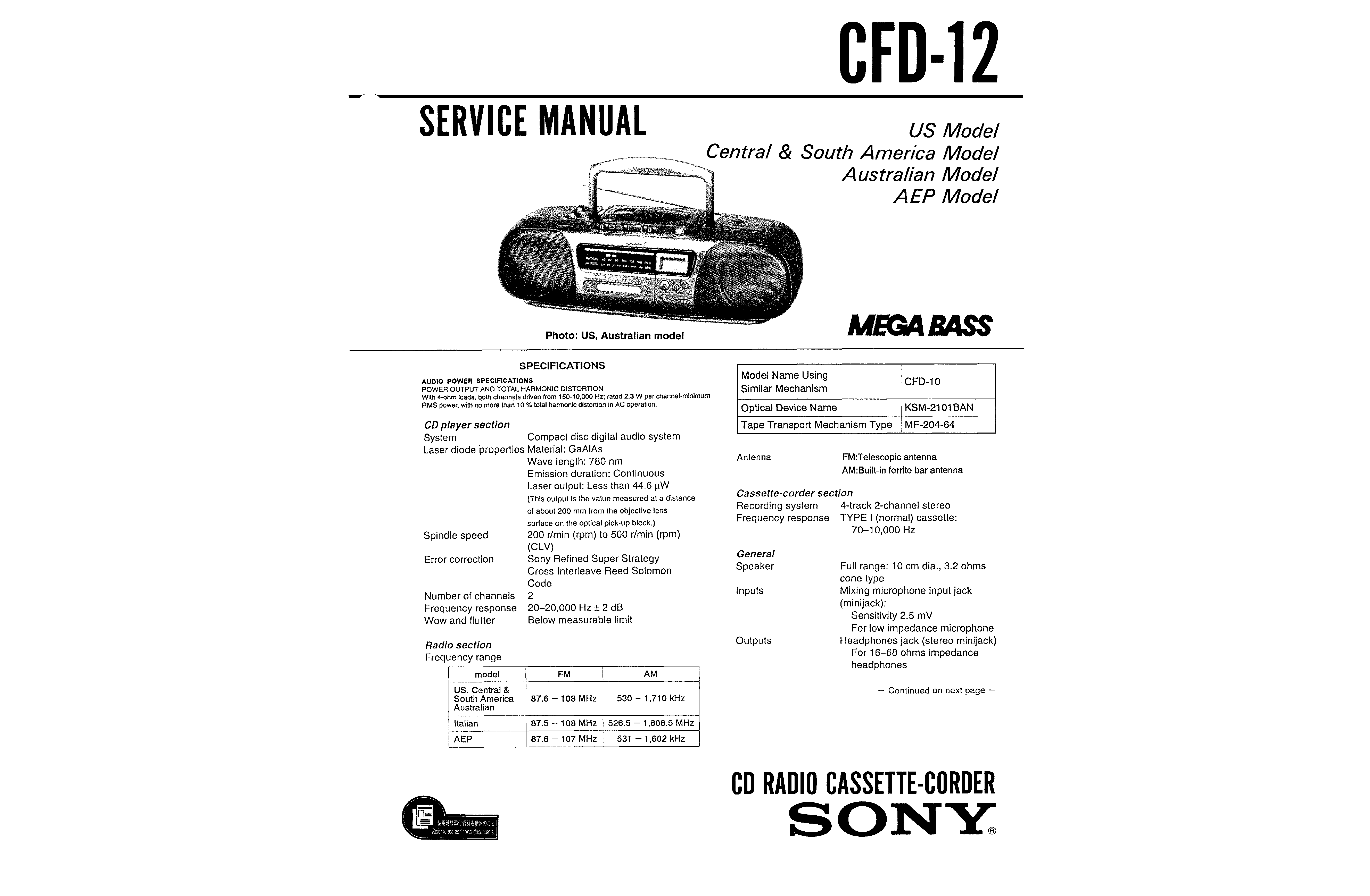 sony cfd-12
