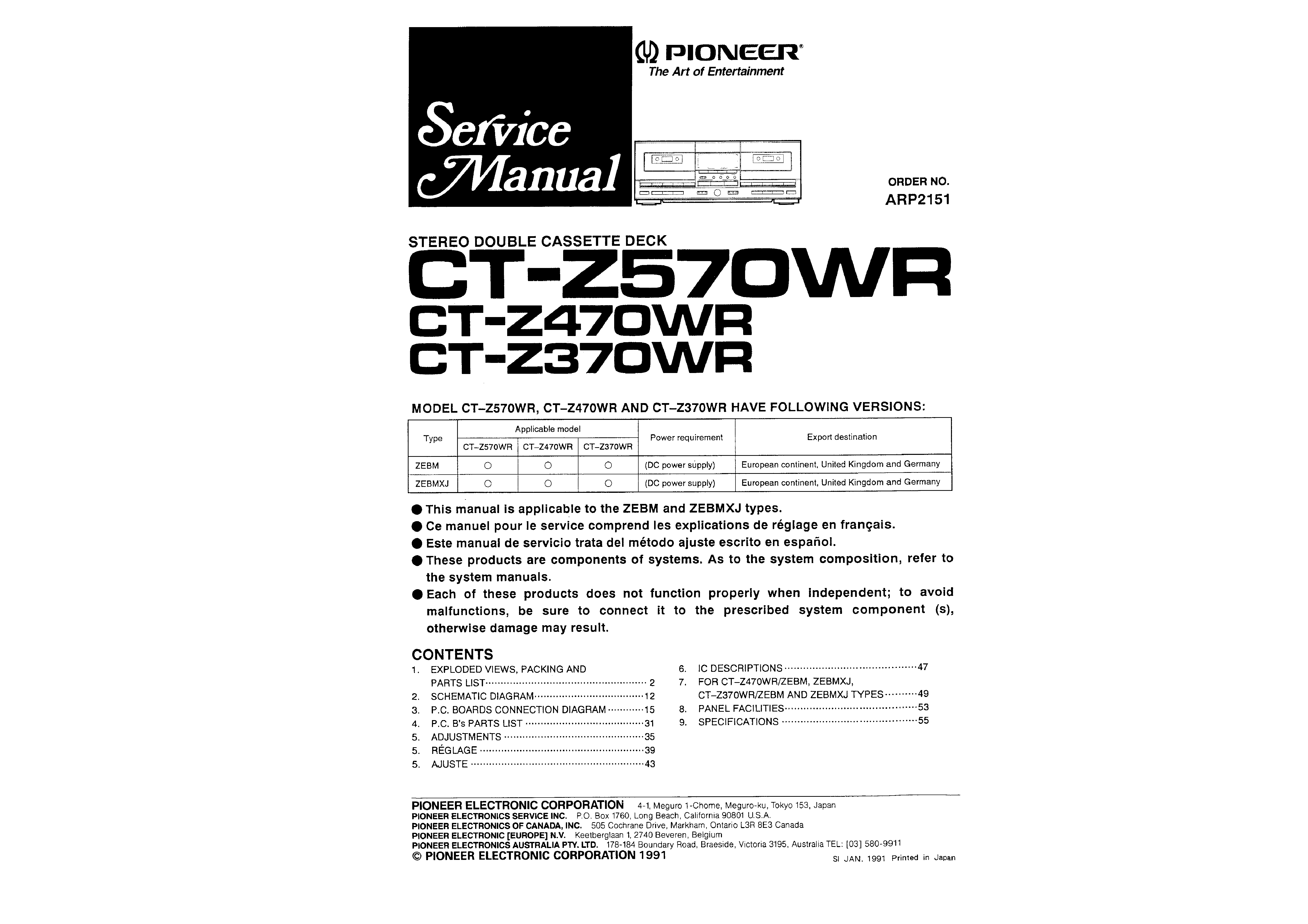 pioneer ct f1250 service manual