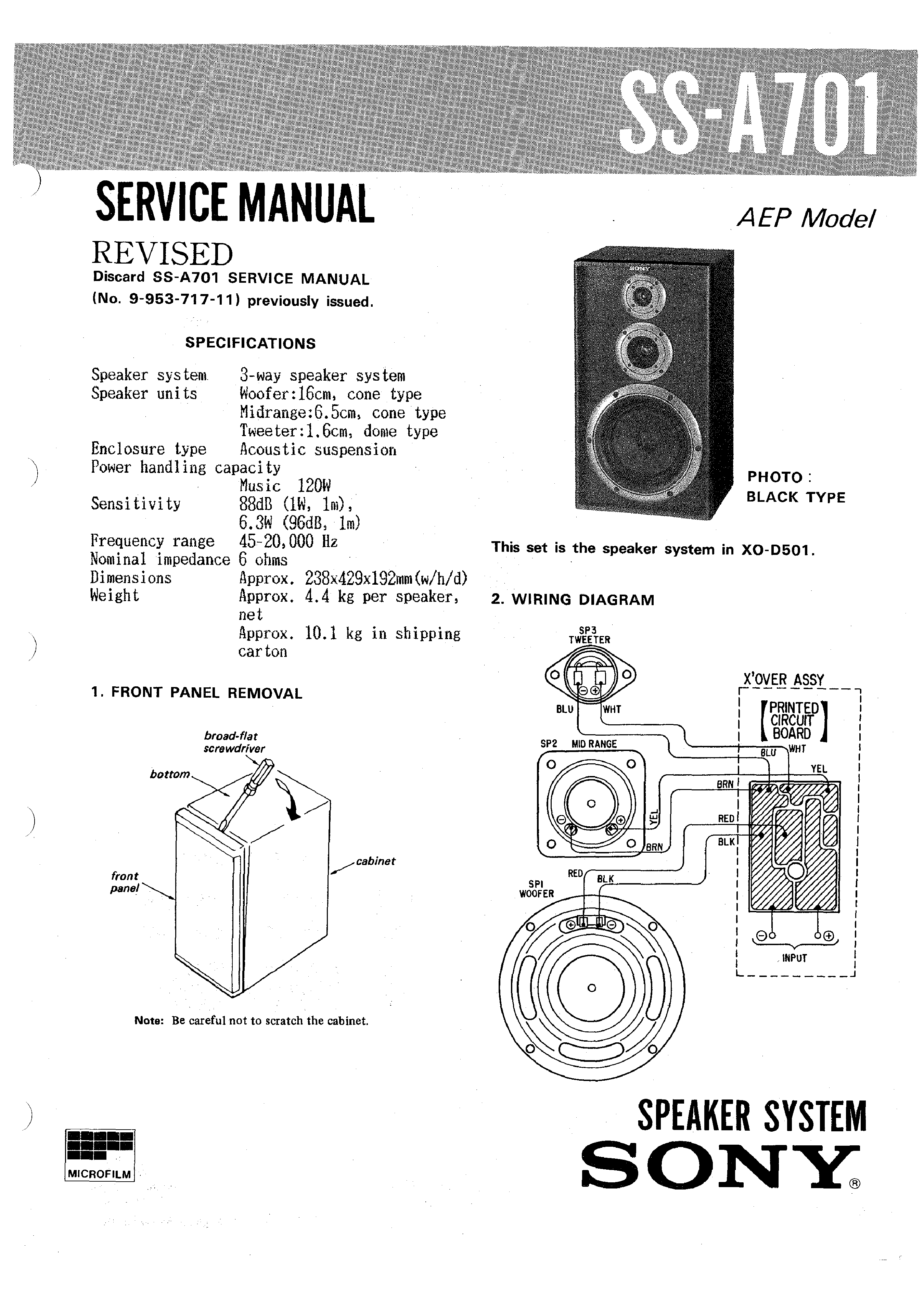 Sony Ssa701 Service Manual Immediate Download