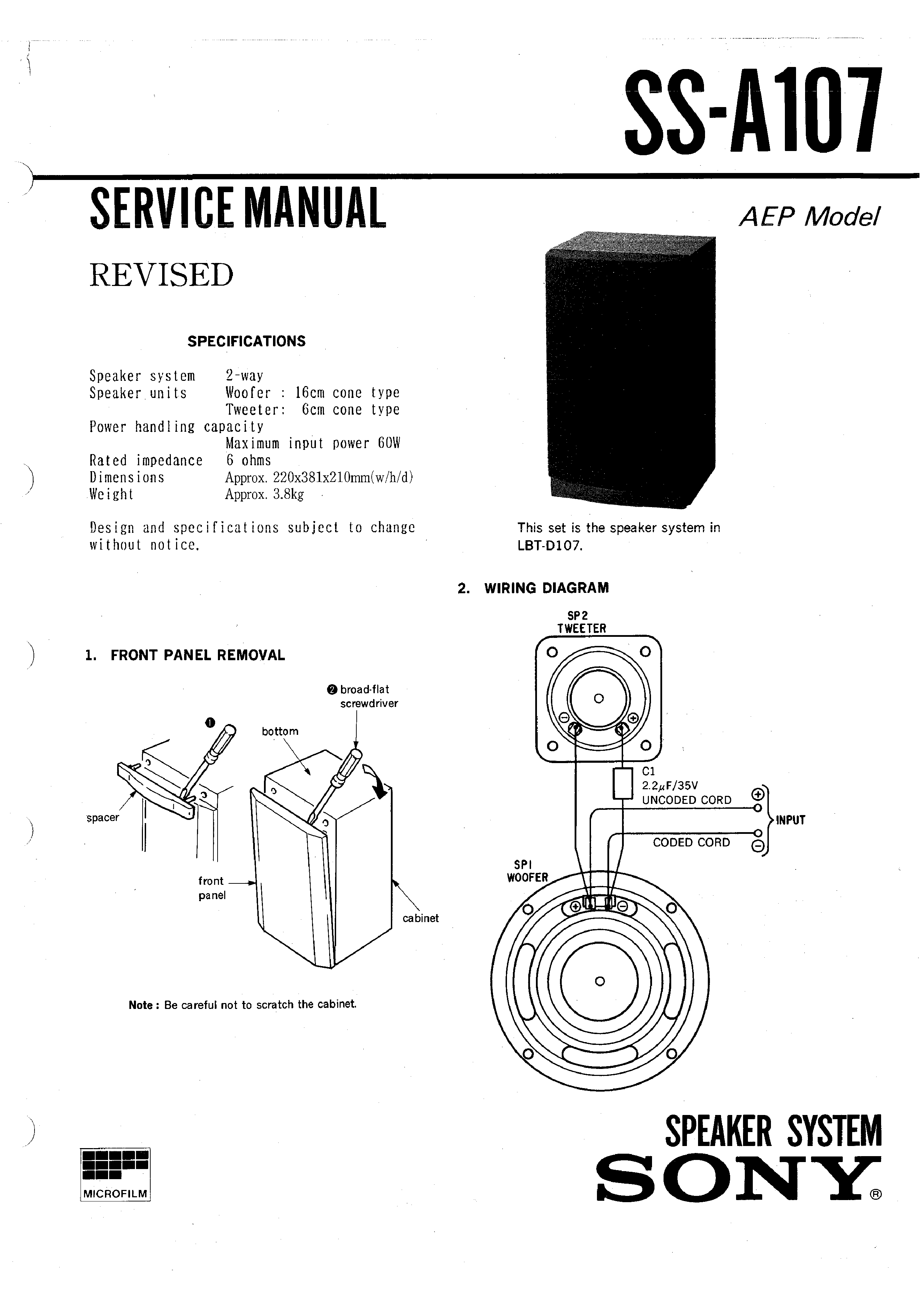 Sony Ssa107 Service Manual Immediate Download