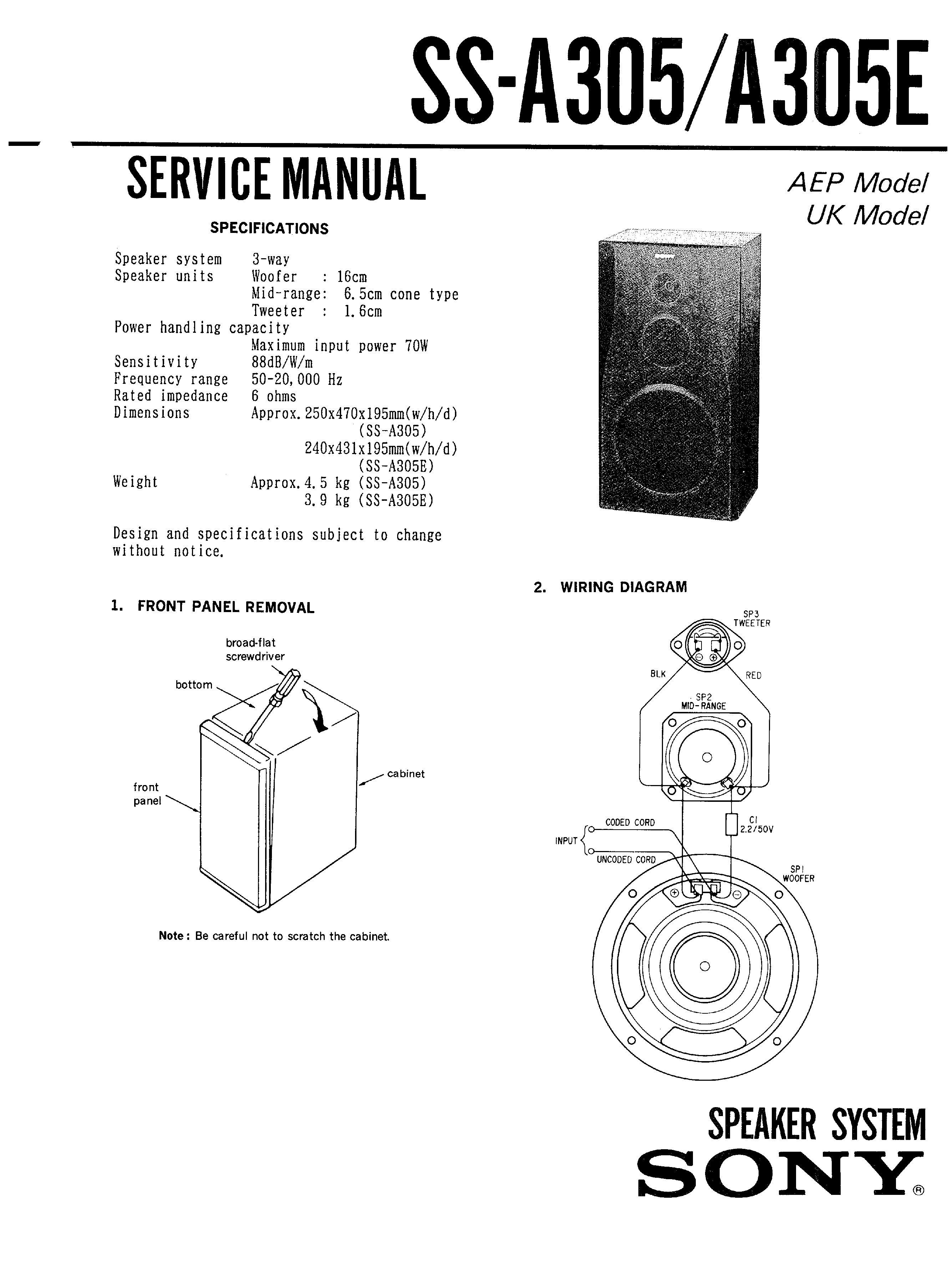 Sony Ssa305 Service Manual Immediate Download