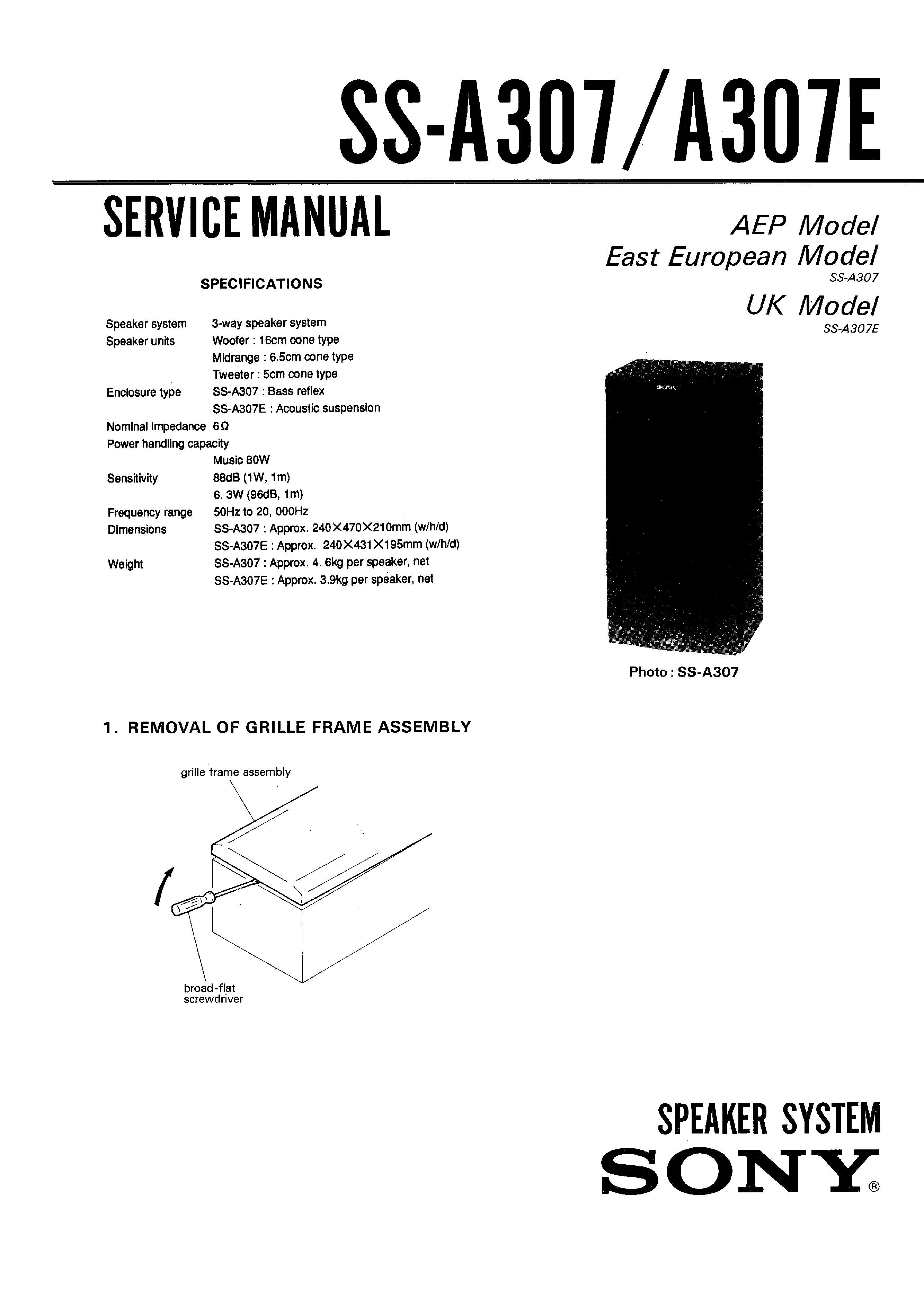 Sony Ssa307e Service Manual Immediate Download