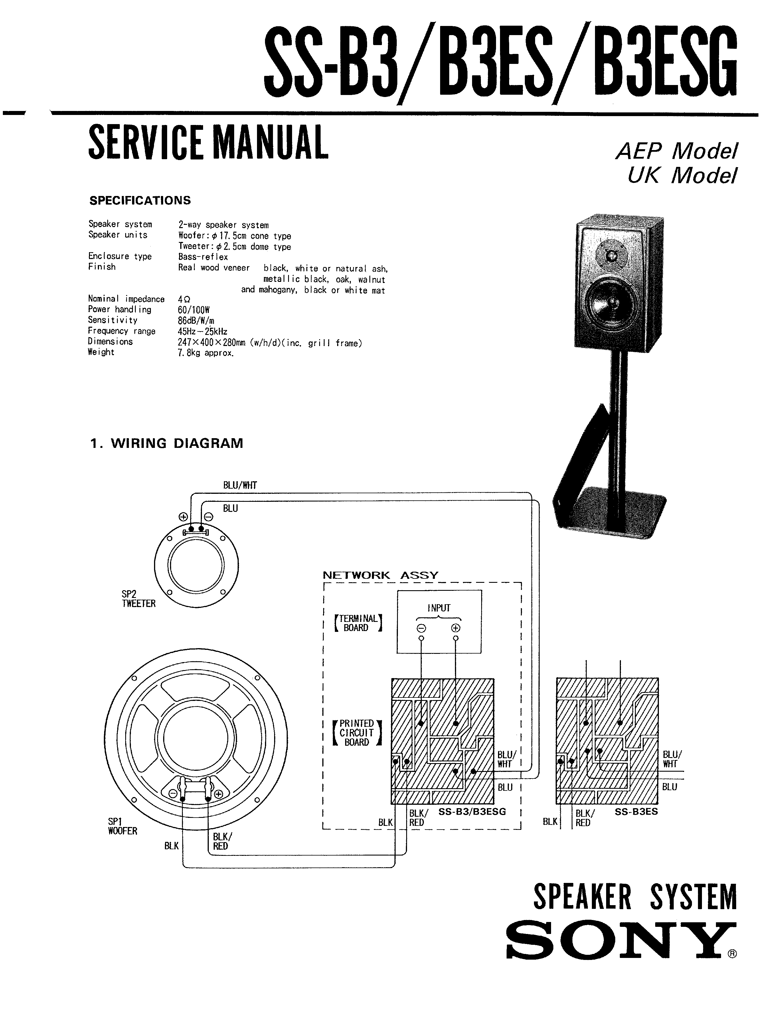Sony Ssb3es Service Manual Immediate Download