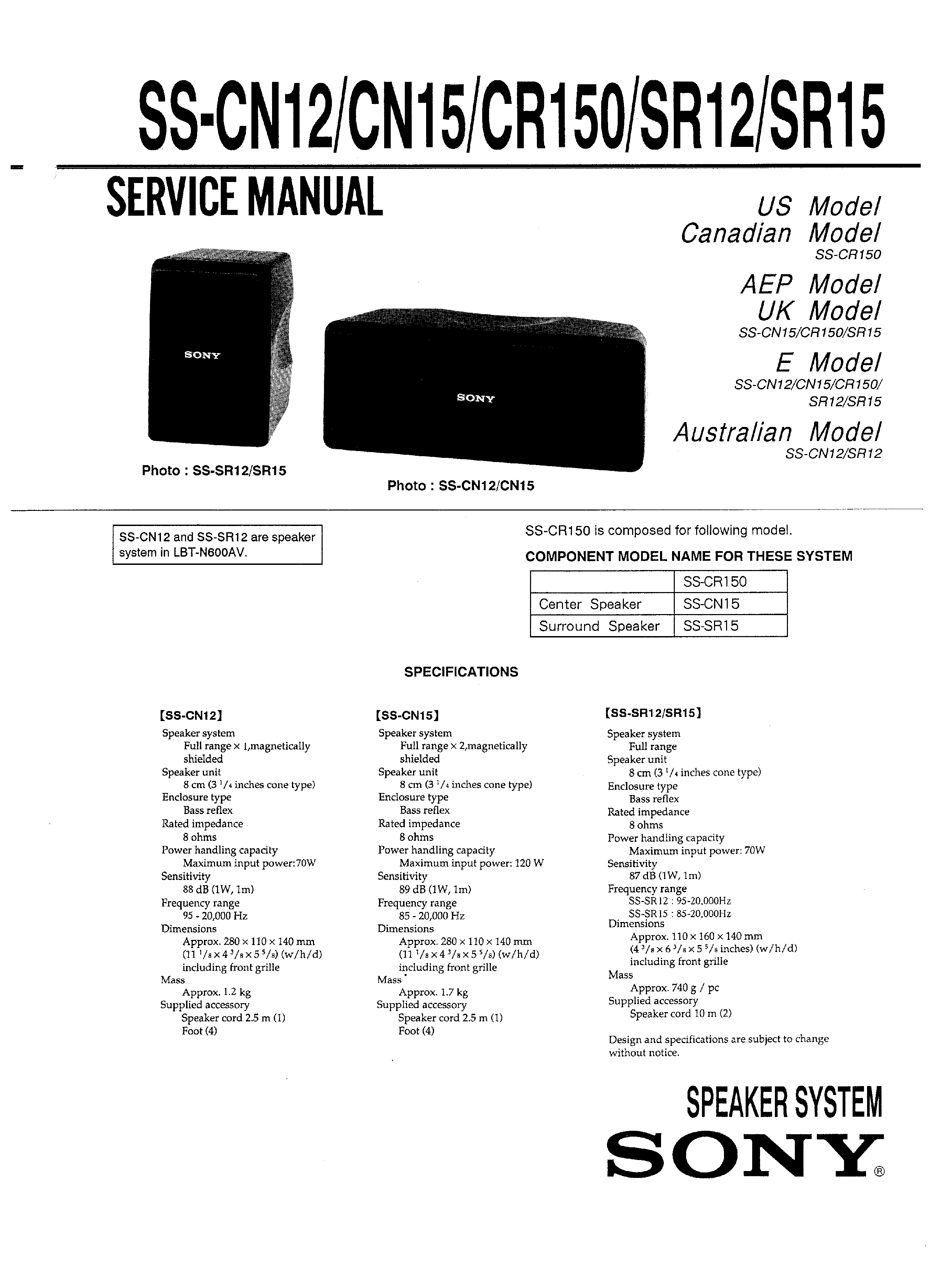 Sony Ss Cn15 Service Manual Immediate Download